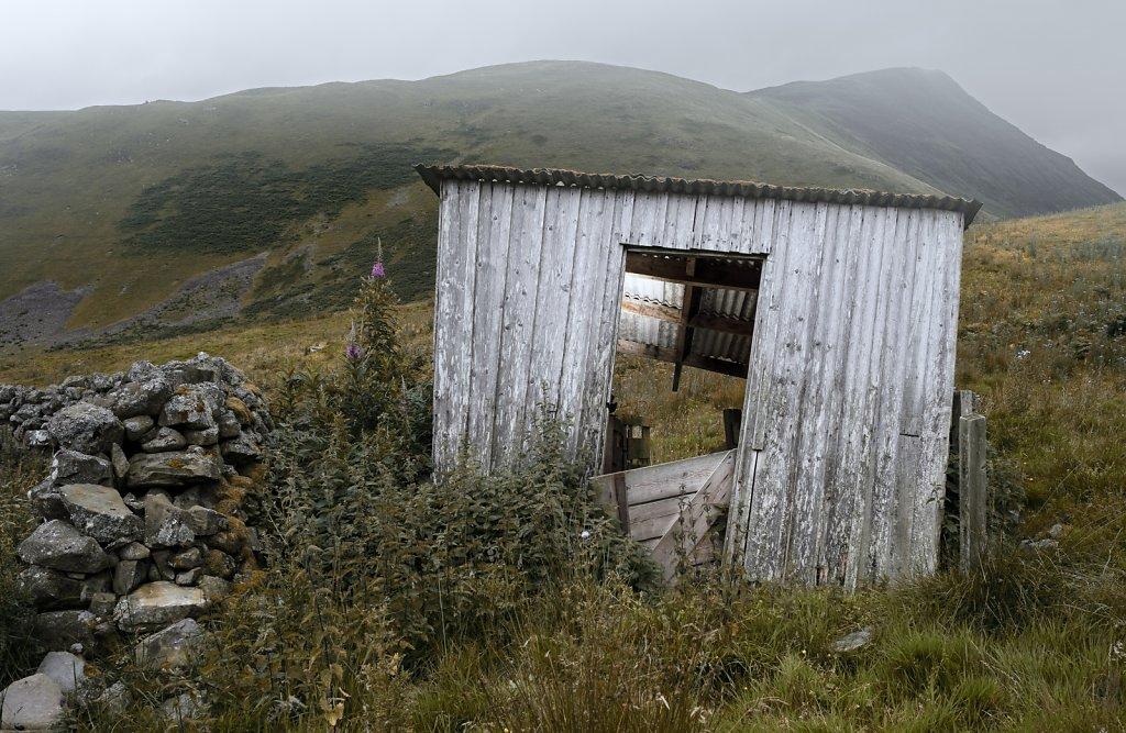 A tumbledown shed
