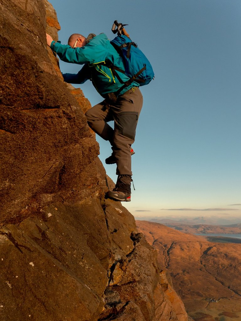 One of the steeper moves on the Sgurr na Stri scramble