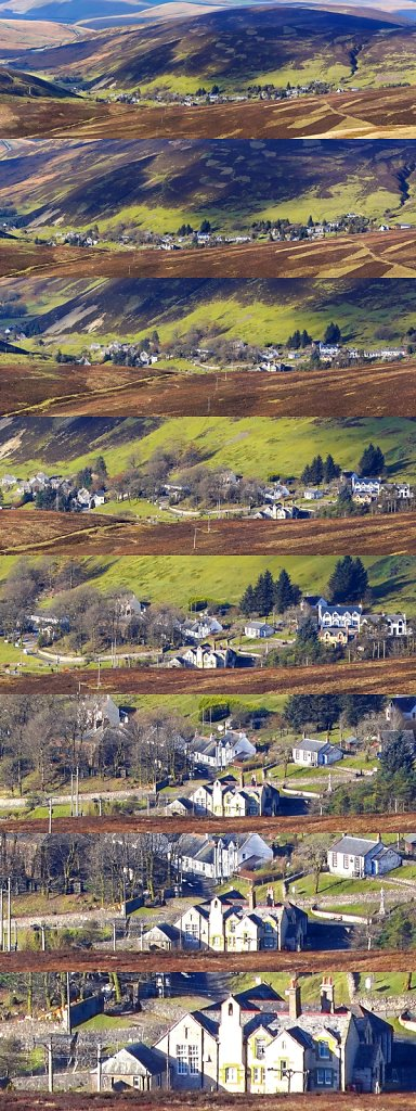Multishot panorama of Wanlockhead from Lowther Hill